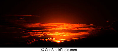 Surrealistic Sunset - Very red sunset details seen from the...