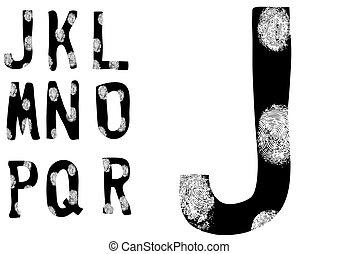 Fingerprint Alphabet Full J to R (Set 2 of 3)