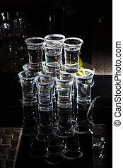 alcohol drink vodka on bar. cocktail