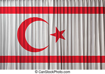 The Turkish Republic of Northern Cyprus flag on curtain