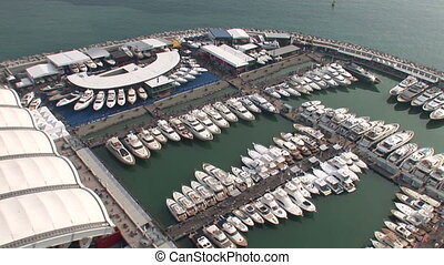 Aerial view of Genoa Boat Show, with docked boats
