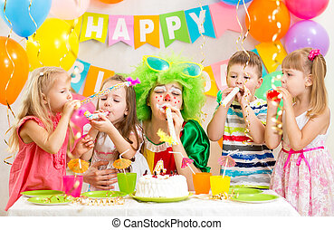 kids and clown at birthday party - kids and clown at...