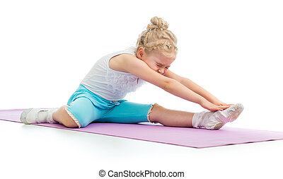 Kid girl doing fitness exercises