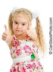 Happy smiling kid girl with ok hand sign