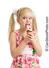 smiling child girl with ice cream isolated