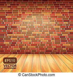 Brick wall and wood floor, vector background - Interior with...