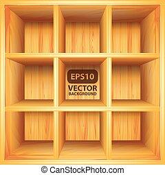 Wooden bookshelf, vector background