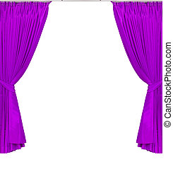 violet or magenta curtains on white background