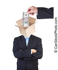 Money is a value. - Hand putting money into man's head...