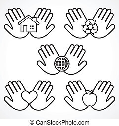 Set of environment icons with hands