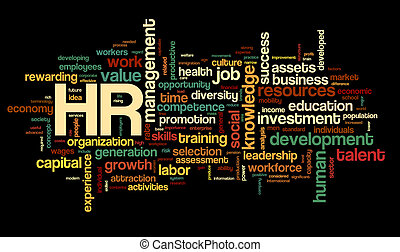 Human resources concept in tag cloud - HR - human resources...