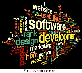 Software development concept in tag cloud on black...