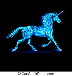 Fire unicorn. - Running blue fire unicorn on black...