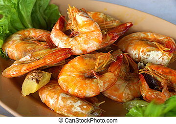 cierre, cocido al horno, sal, Arriba, camarón