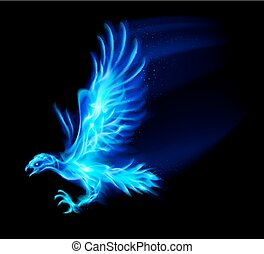 Fire hawk - Illustration of blue fire hawk on black...