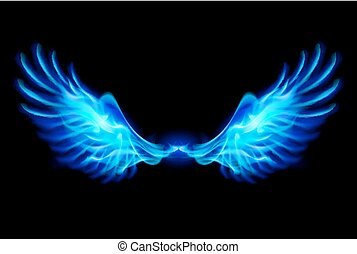 Blue fire wings. - Illustration of blue fire wings on balck...