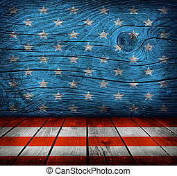 empty interior room with American flag colors ready for...