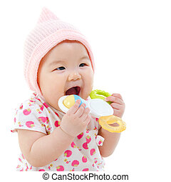 Baby teething - Beautiful mixed race Asian baby girl...