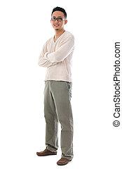 Full body Asian man in casual wear