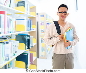Southeast Asian adult student in library