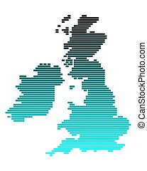 Vector map of British Isles in broad lines