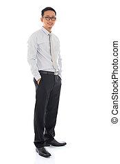 Full body Asian business man