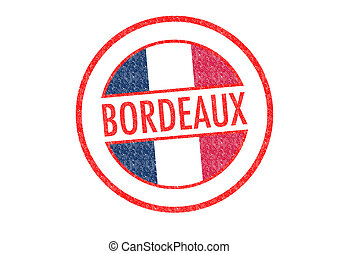 BORDEAUX - Passport-style BORDEAUX rubber stamp over a white...