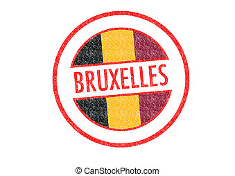 BRUXELLES - Passport-style BRUXELLES rubber stamp over a...
