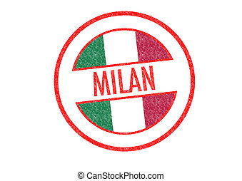 MILAN - Passport-style MILAN rubber stamp over a white...