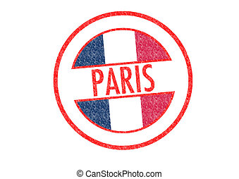 PARIS - Passport-style PARIS rubber stamp over a white...