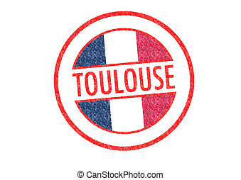 TOULOUSE - Passport-style TOULOUSE rubber stamp over a white...