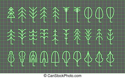 Tree icon set. Vector illustration