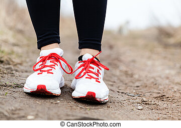 Walking or running legs sport shoes - Walking or running...