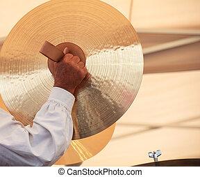 Cymbals - BOLZANO, ITALY - SEPTEMBER 15: Musician with...
