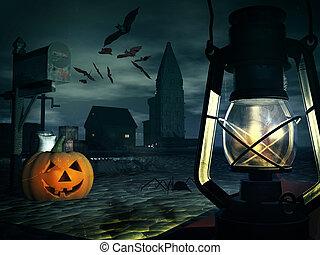 pumpkin at church - pumpkin lies on the stones lit lamp