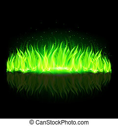Green wall of fire. - Green wall of fire with weak...