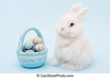 Easter Bunny - White bunny rabbit with a basket of eggs...