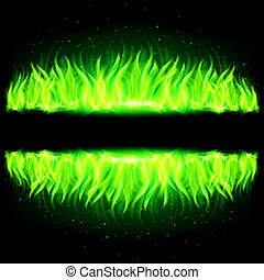 Two green walls of fire.
