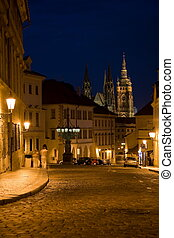Night lane in Prague - Night lane and sidewalk with couple...