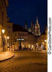 Night lane in Prague - Night lane and sidewalk with couple...