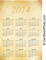 Calendar grid in 2014 on a piece of old vintage paper, A3 -...