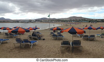 Canary Islands on a cloudy day - beach of Fuerteventura,...