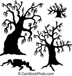 Spooky trees silhouette collection - vector illustration.