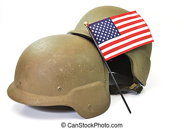 American Military - Military helmets and American flag...