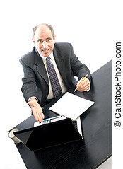 senior executive at desk successful - senior executive...