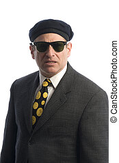 agent in sunglasses french beret - tough looking spy secret...