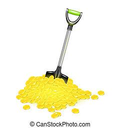 Shovel in golden pile. Vector illustration.