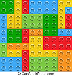 Plastic construction blocks seamless background. Vector...