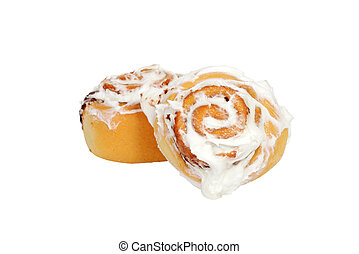 two cinnamon buns with icing - isolated two cinnamon buns...