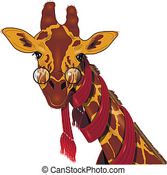 Giraffe in a scarf - Illustration of giraffe in a red scarf